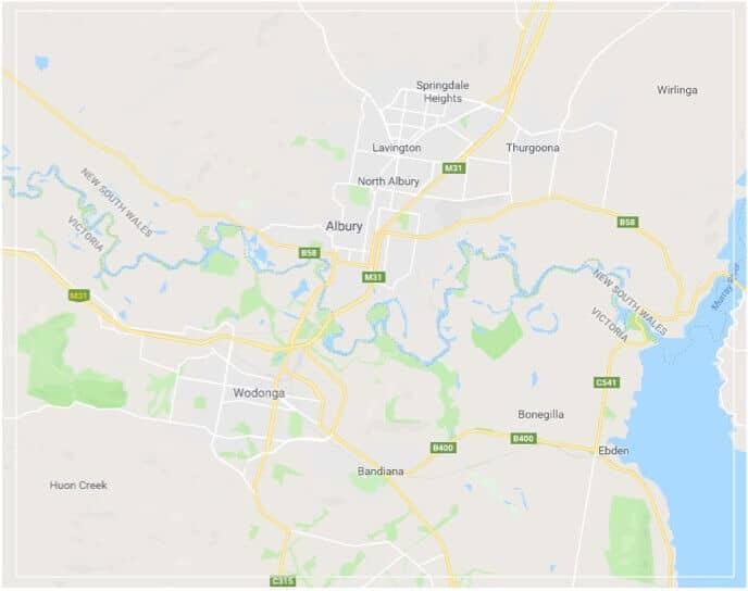Albury Wodonga Sheds Map