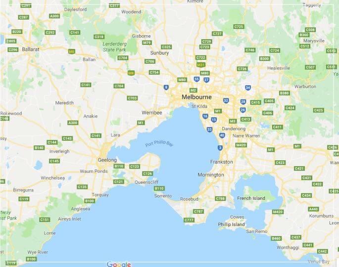 Melbourne Sheds Map