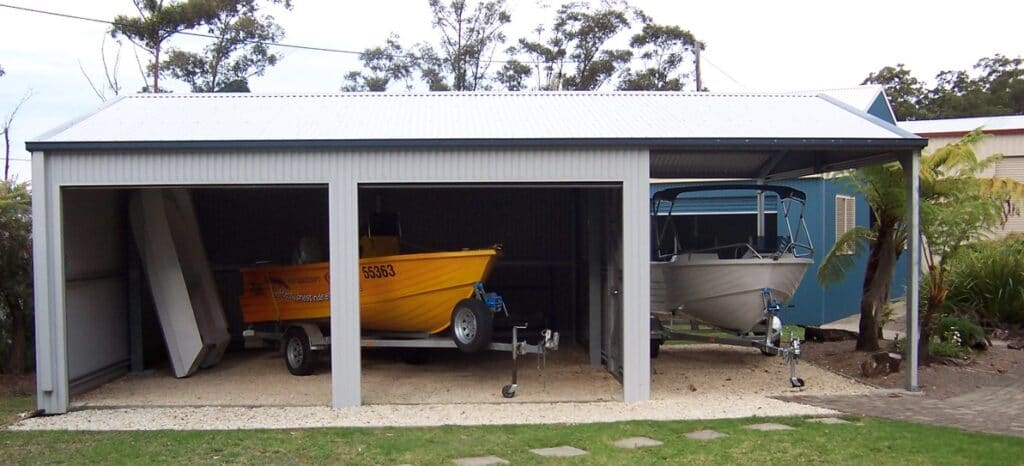Double boat storage shed