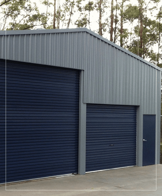 steel workshop shed with variable door heights